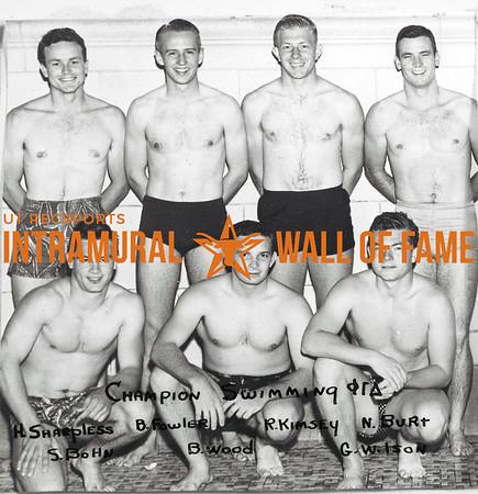 Swimming, Champion Phi Gamma Delta Back Row (L-R):  Harry Harpless, Bob Fowler, Ray Kimsey, Neson Burt Front Row:  Skippy Bohn, Bob Wood, Graham Wilson