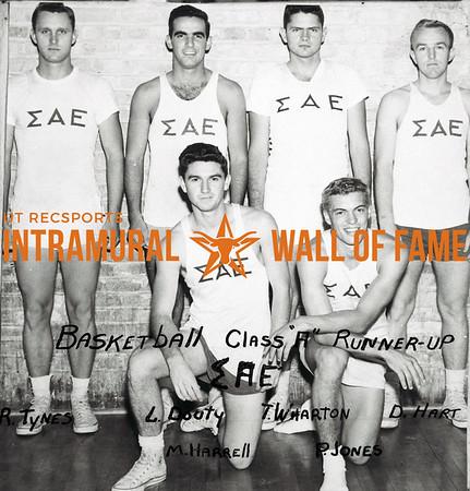 Basketball, Class A Runner-Up Sigma Alpha Epsilon Back Row (L-R):  Ronnie Tynes, Lee Douty, Tom Wharton, Doug Hart Front Row:  Marshall Harrell, Pat Jones