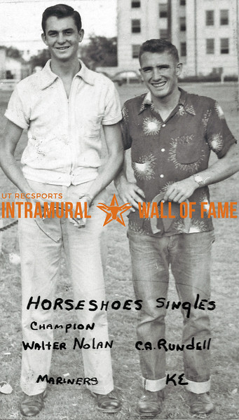 Horseshoes, Singles Champion, Walter Nolan, Mariners Runner-Up:  C.A. Rundell, Kappa Sigma