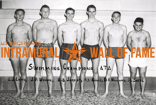 Swimming, Champion Delta Tau Delta Larry Lynn, John Wymer, Henry Jacoby, Fred Nagle, Dave Williams, Jim Satel