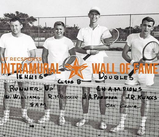 Tennis Doubles, Class B Runner-Up:  Buddy Williams, Robert Becker, Sigma Alpha Mu Champions:  Jessie Pfeiffer, John Knaggs, Oak Grove