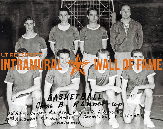 Basketball, Class B Runner-Up Theleme Co-Op Front Row (L-R):  Bill F. Galloway, Richard Lipton, J. Valcave Jazek, Richard Spinks Second Row:  Arthur F. Zobal, Thad J. Woodruff, Ralph Lawrence Carmichael, Joel D. Tinker