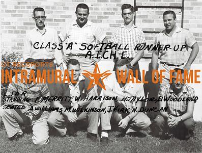 Softball, Class A Runner-Up A.I.CH.E. Standing (L-R):  Fred Merritt, Wayne Harrison, Hollis Taylor, David Woodland Seated: Dave Williams, Manuel Wilkinson, John Kirk, Nick Duncan