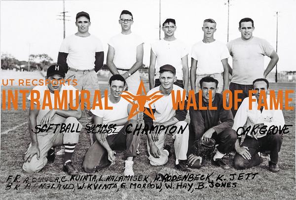 Softball, Summer School Champion Oak Grove Front Row (L-R):   A. Oliver, C. Ruinta, L. Halamisek, H. Rodenbeck, K. Jett Back Row:  A. England, W. Kvinta, G. Morrow, W. Hay, B. Jones