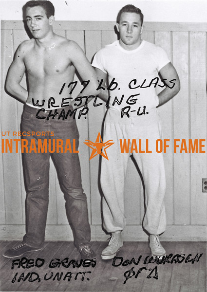 Wrestling, 177 Lb.  Champion: Fred Graves, Independent Unattached Runner-Up: Don Wukasch, Phi Gamma Delta