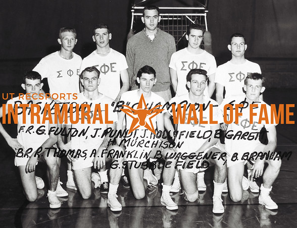 Basketball, Class B Champion Sigma Phi Epsilon Front Row:  George Richard Fulton Jr., John Lee Pundt, John Scoggins Hollyfield, Jennings A. Garrett, Hemel Murchison, Back Row, James Rodney Thomas, Albert George Franklin, Robert Glenn Waggener, William Keith Branham, George G. Stubblefield III Not Pictured, Bill S. McGowen