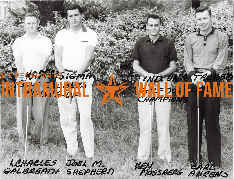 Golf Doubles, Kappa Sigma, Runner-Up, L. Charles Galbreath, Joel M. Shepherd, Independent Unattached, Champions, Ken Mossberg, Carl Ahrens