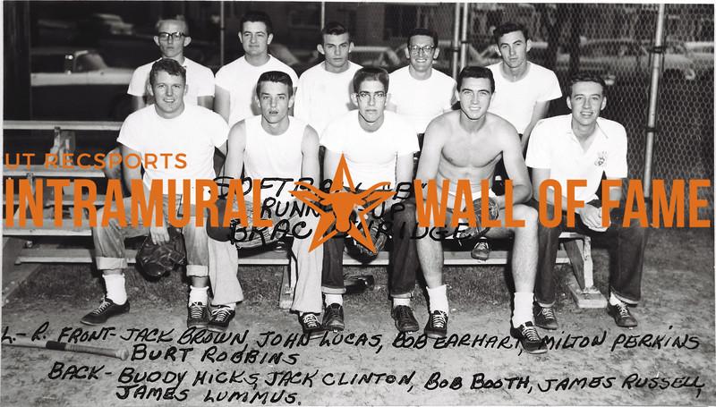 Softball, Class B, Runner-Up Brackenrdige Front (L-R):  Jack Brown, John Lucas, Bob Earhart, Milton Perkins, Burt Robbins,  Back: Buddy Hicks, Jack Clinton, Bob Booth, James Russell, James Lummus