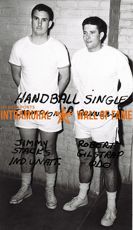 Handball Singles, Class A Champion Jimmy Stacks, Independent Unattached Runner-Up Robert Gilstrap, Phi Delta Theta