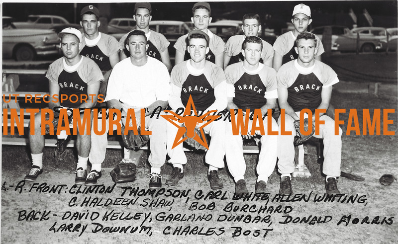Softball, Class A Runner-Up Brackenridge Front (L-R):  Clinton Thompson, Carl White, Allen Whiting, C. Haldeen Shaw, Bob Burchard,  Back:  David Kelley, Garland Dunbar, Donald Morris, Larry Downum, Charles Bost