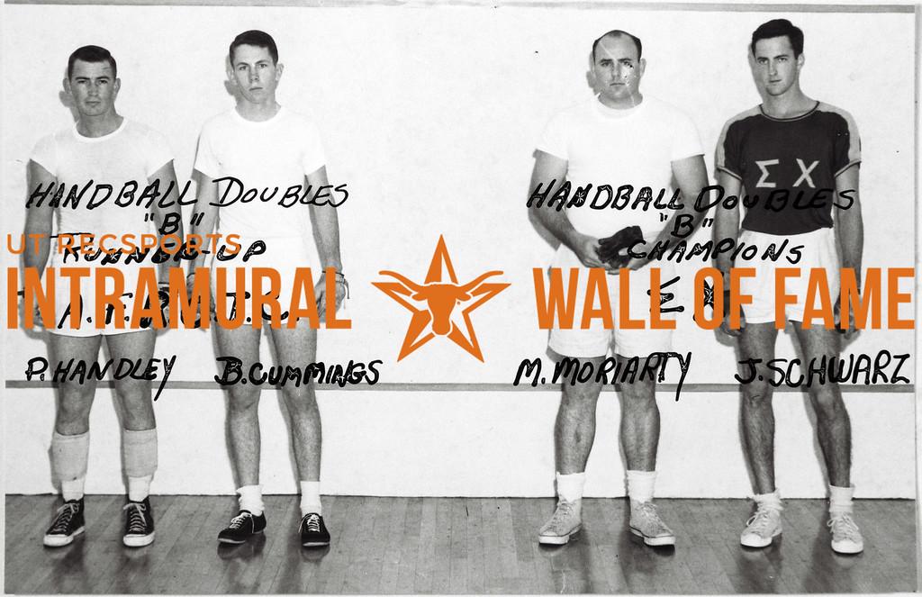 Handball Doubles, Class B,  Runner-Up A.F.R.O.T.C.: Phil Handley, Bobby Cummings Champions Sigma Chi: Morton Moriarty, John Schwarz