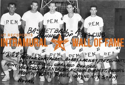 Basketball, Class A Runnerup PEM Club Back (L-R):  Hector Contreras, Bobby Lackey, Joe Clements, Bill Brenner, Garland Dunbar Front:  Wendell McAndrews, Nelson Bippert, Dennis Kouth, Terry Page, Wayne Hay, Sonny Novak