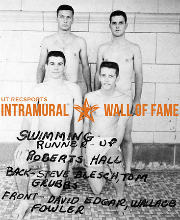 Swimming  Runnerup Back:  Roberts Hall, Steve Blesch, Tom Grubbs,  Front:  David Edgar, Wallace Fowler