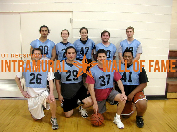 BASKETBALL 1L Champion  Team Sheff  R1: Scott Muehlberger, Jacob Arechiga, Robert Rogers, Daniel Walker R2: Radney Wood, Julie Urice, Leigh Jorgeson, Stephen Tatum, Matt Mueller Not Pictured: Paul Wolpert, Melissa Jaurez
