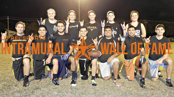 FLAG FOOTBALL Coed B Silver Runner Up  Money Makers  R1: Anthony Rizzolo, Joaquin Rios, Javier Villagomez, David Cortinas, Nathan Navarro,  Hector Valverde, Guadalupe Garcia R2: Kendra Chowning, Lindsey Ventura, Brook Brashear, Sarah Lawrence, Kylie Boswell Not Pictured: Hailey Mayo