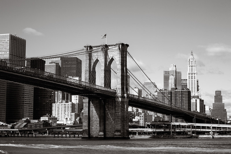 wiew of Brookly Bridge, New York, Black and white