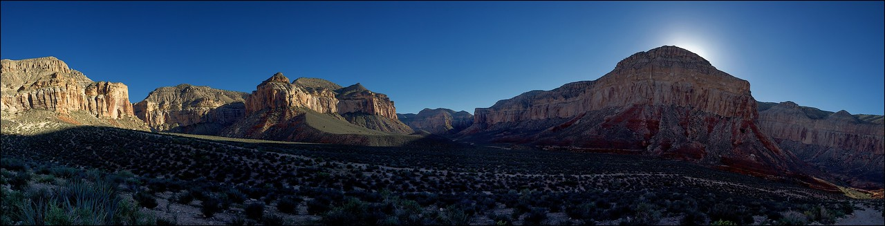View of the Hualapai Nation hilltop to the left seen from the trail leading to Supai village in Grand Canyon, Arizona