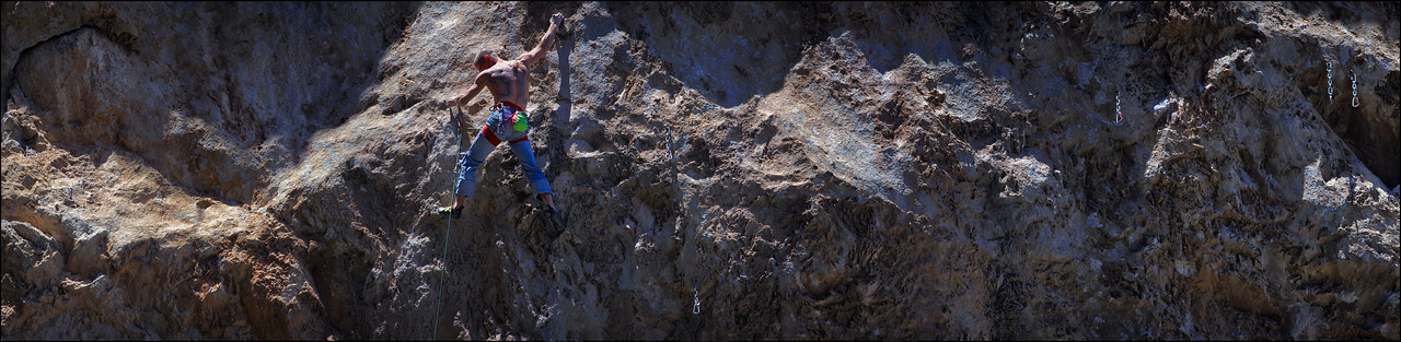 Brian Merrill warming up on the Bublicious 5.11d route at the Robbers Roost Crag.