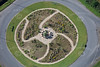 An aerial photo of an ornate traffic roundabout near Grantham in Lincolnshire.