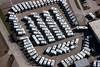 aerial photo of a pattern of motor homes.