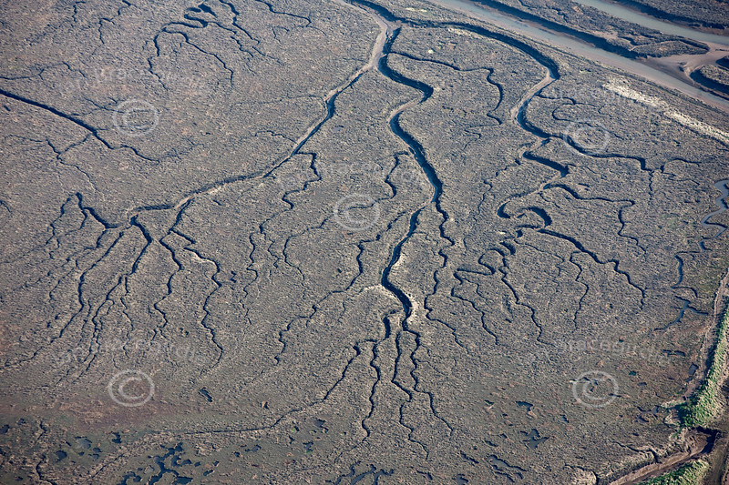 An aerial photo of patterns in the mud near the coast in Lincolnshire.