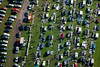 aerial photo of a car boot sale.