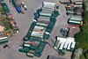 Aerial photo of lorry trailers near Ollerton in Nottinghamshire.