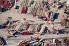 Abstract aerial photo of cranes.