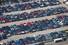 An aerial photo of patterns of cars in a scrapyard in Nottinghamshire.