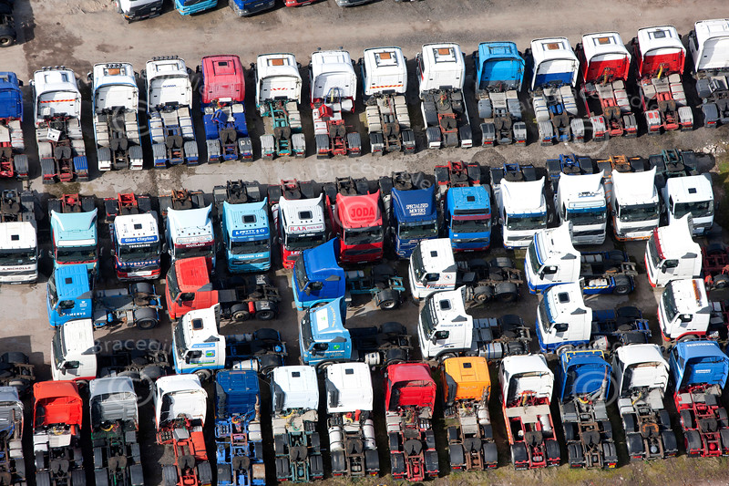 aerial photo of lorries for sale.