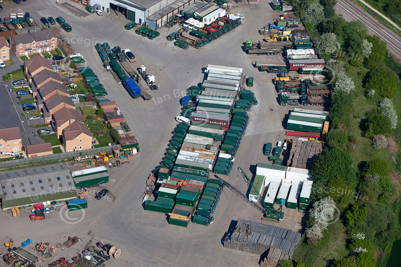 An aerial photo of lorry trailers near Ollerton in Nottinghamshire.