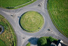 A stock aerial photo of a traffic roundabout.