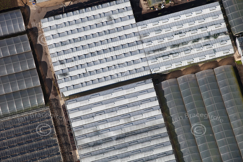 An aerial photo of glasshouses near Spalding in Lincolnshire.