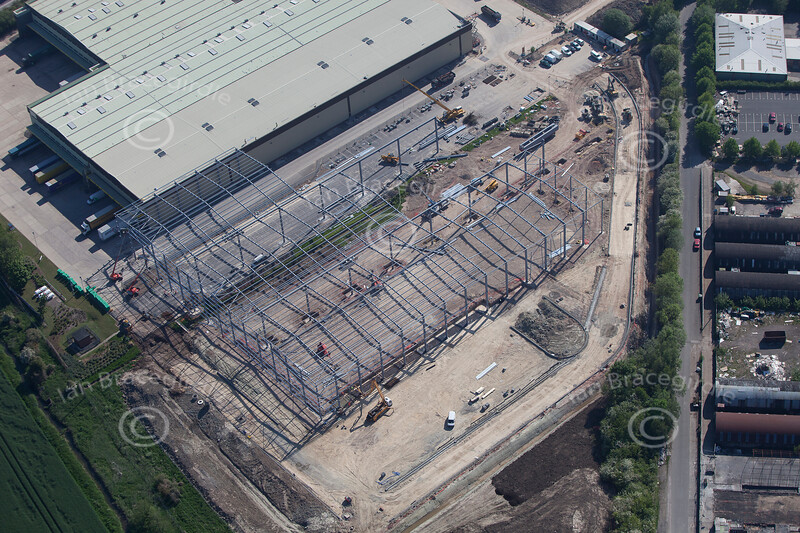 An aerial photo of a new steel building being erected near Kirton Nottinghamshire.