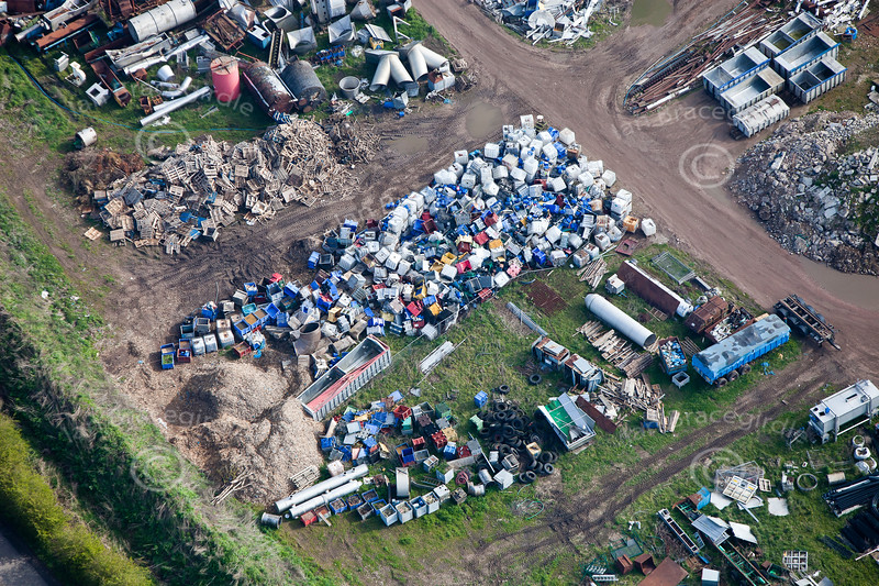 A stock aerial photo of a junk / scrap yard.