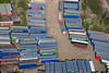 An aerial photo of patterns of lorries in a yard in Nottinghamshire.
