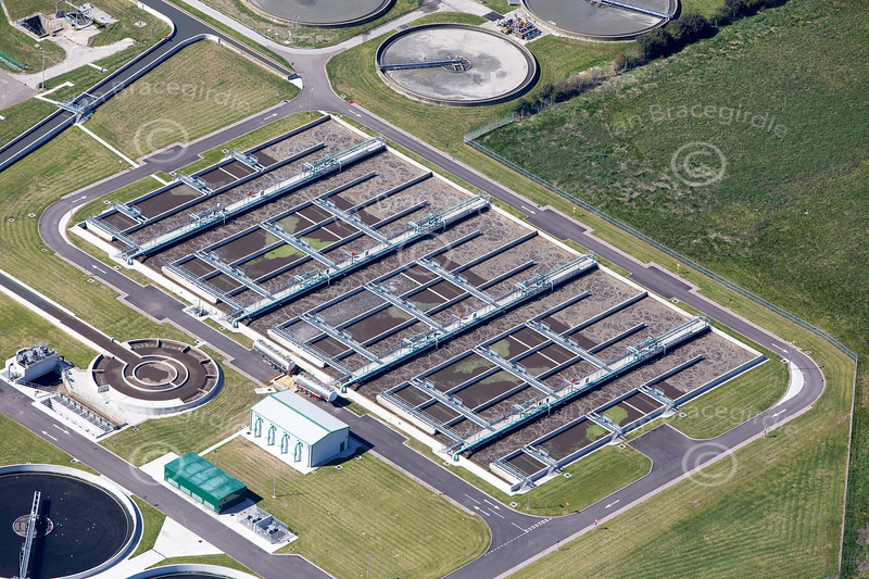 A water treatment plant (sewage farm) from the air.