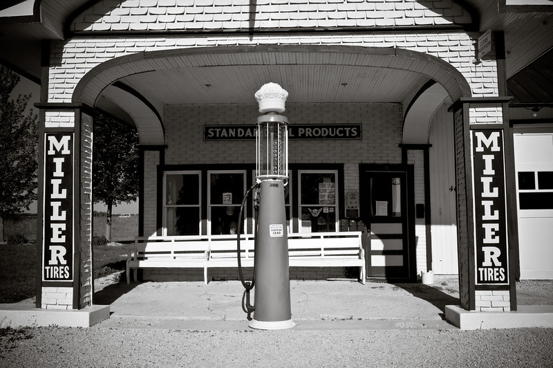 Standard Oil Gas Station Black and White