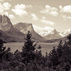 snow capped mountains, glacier park, lake