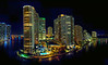 Brickell Key at Night, from the pool deck of ICON Brickell