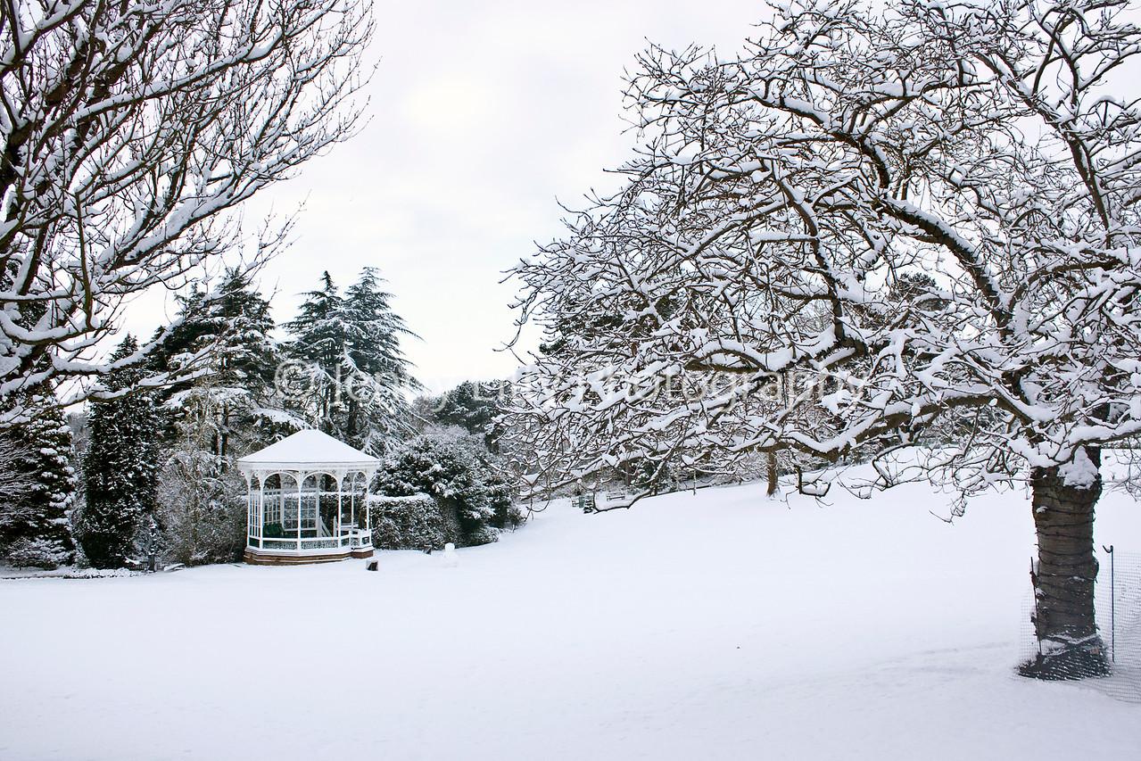 Birmingham Botanical Gardens Bandstand in snow