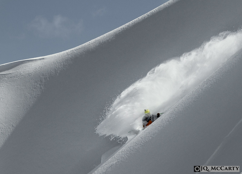 Chris Grabher, of Feldkirch, Austria, gets in deep while out ripping it up with Alaska Heliskiing in Haines, Alaska on April 21, 2014.