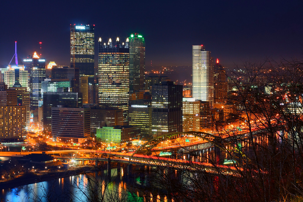"Downtown Pittsburgh at night<br /> This photo can be purchased as a 30""x20"" or an 18""x12"" Ready-to-Hang Float Mount Metal Print. <br /> Purchase Price: $329.99 (30x20"") and $147.99 (18x12"")<br /> To purchase this wall mount, click on the cart button to the right."
