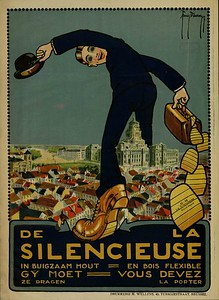 Affiche publicitaire illustrée pour des semelles en bois de la marque « La Silencieuse », 1917.