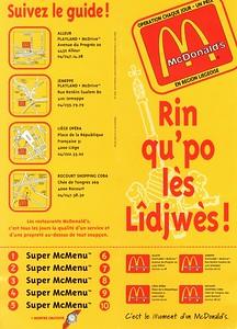 Dépliant publicitaire pour les fast food Mc Donald's de la région liégeoise, 1996.