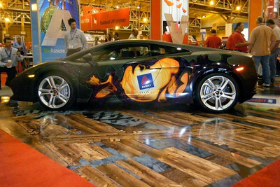 Custom wrap on a Lamborghini for the 2009 SGIA Expo in New Orleans.http://www.skinzwraps.com