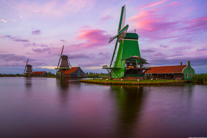 Sunset windmills wallpaper