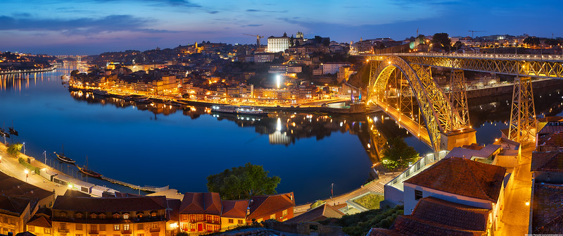 Evening panorama of Porto wallpaper