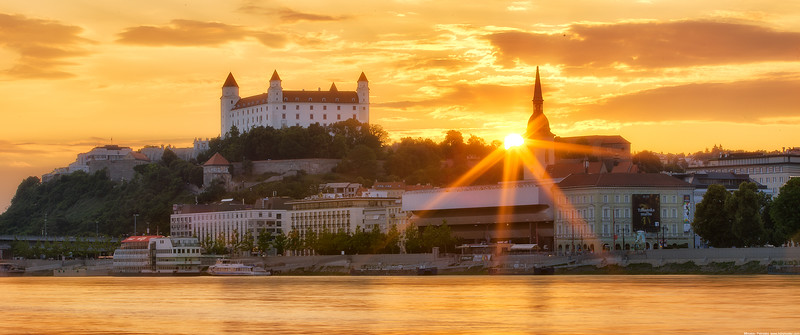 The setting sun in Bratislava wallpaper