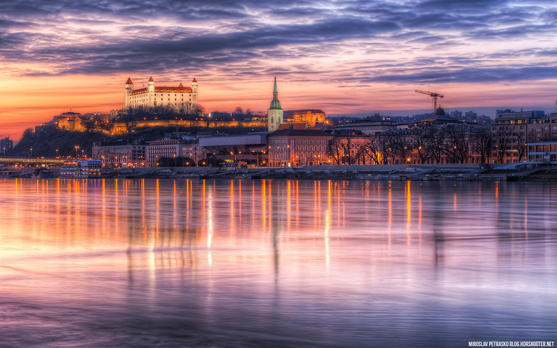 The very colorful sunset in Bratislava 1920x1200